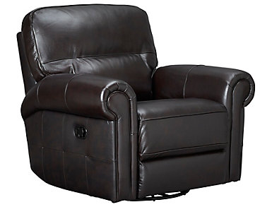 Rico Leather Swivel Glider Recliner, Brown, , large