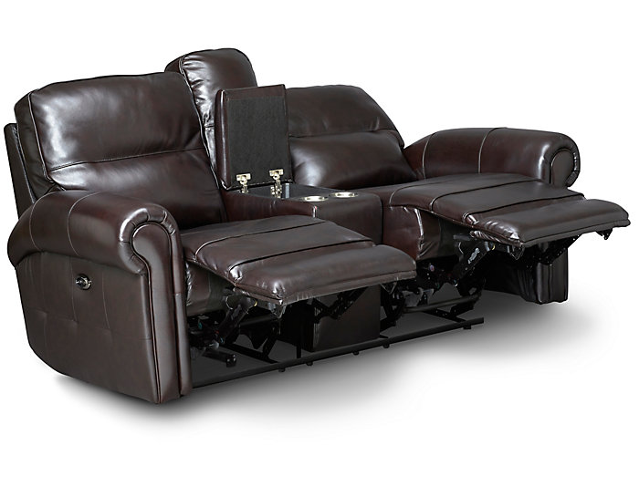 Rico Leather Reclining Console Loveseat, Burgundy, , large