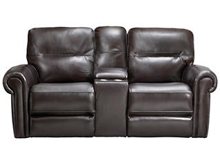 Rico Leather Gliding Console Reclining Loveseat, Burgundy, , large
