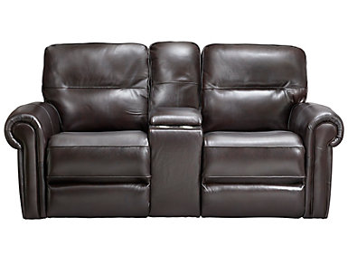 Rico Leather Gliding Console Reclining Loveseat, Brown, , large