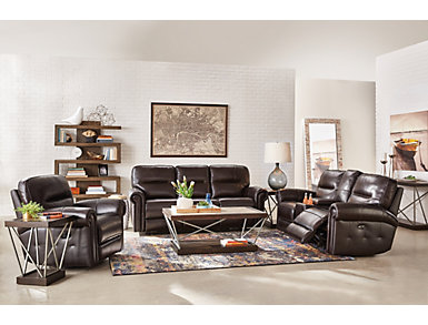 Rico Gliding Reclining Leather Console Loveseat, , large