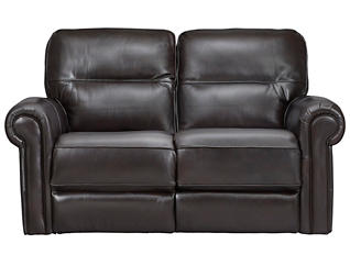Rico Leather Reclining Loveseat, Burgundy, , large