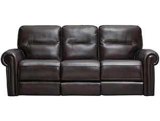 Rico Leather Reclining Leather Sofa, Burgundy, , large