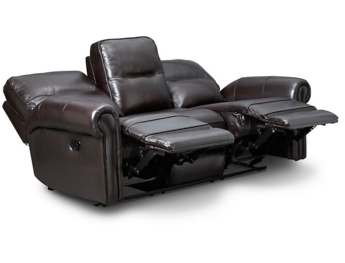 Rico Reclining Leather Sofa, Burgundy
