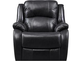 Luke Black Swivel Glider Leather Recliner, Black, large