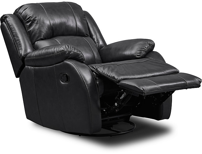 Awe Inspiring Luke Black Swivel Glider Leather Recliner Machost Co Dining Chair Design Ideas Machostcouk