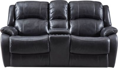 Luke Dual Power Console Leather Loveseat, Black, swatch
