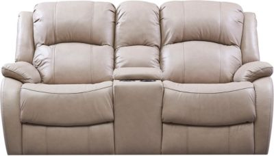 Luke Dual Power Console Leather Loveseat, Beige, swatch