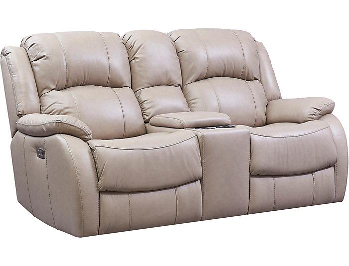 Prime Luke Sand Dual Power Reclining Leather Console Loveseat Machost Co Dining Chair Design Ideas Machostcouk