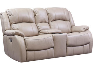 Luke Sand Dual Power Reclining Leather Console Loveseat, Beige, large