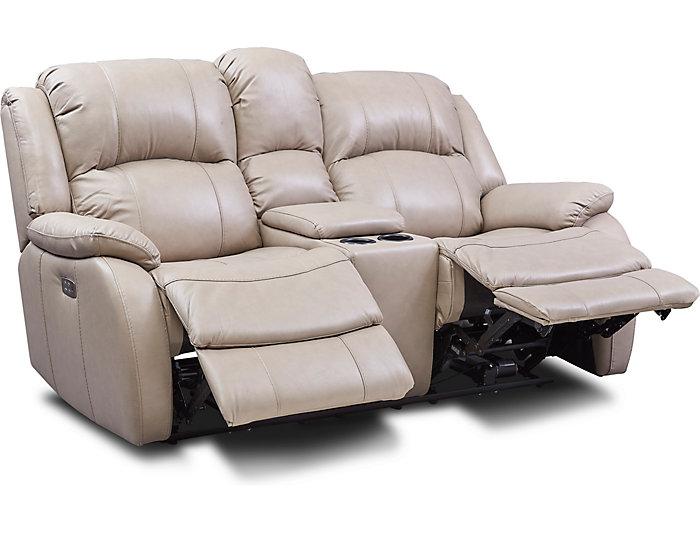 Super Luke Sand Dual Power Reclining Leather Console Loveseat Machost Co Dining Chair Design Ideas Machostcouk