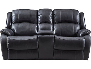 Luke Dual Power Console Leather Loveseat, Black, large