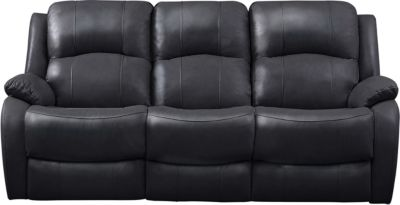 Luke Dual Power Reclining Leather Sofa, Black, swatch