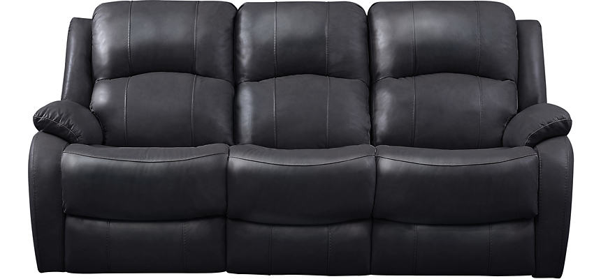 Luke Black Dual Power Reclining Leather Sofa