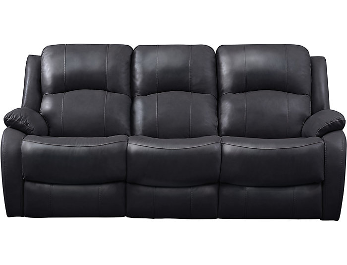 Luke Black Dual Power Reclining Leather Sofa | Art Van