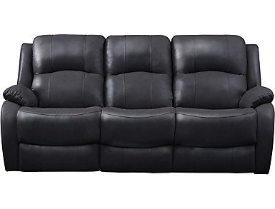 Luke Dual Power Reclining Leather Sofa, Black, large