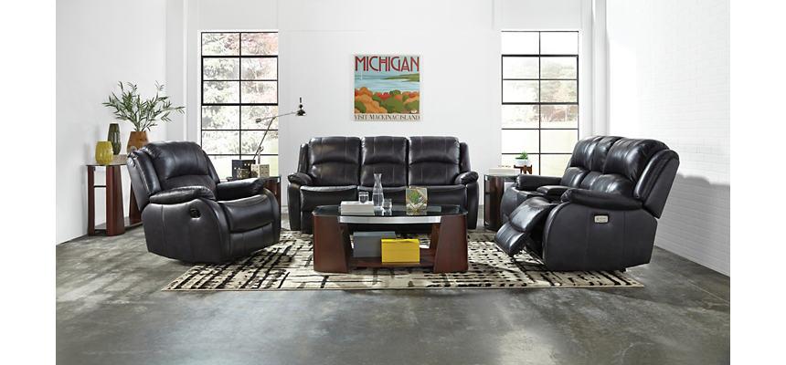 Luke Black Dual Power Reclining Leather Sofa | Art Van Home