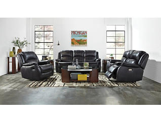 Luke Dual Power Reclining Leather Sofa, Charcoal, large