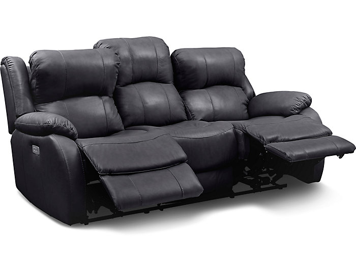 Luke Black Dual Power Reclining Leather Sofa | Art Van Home