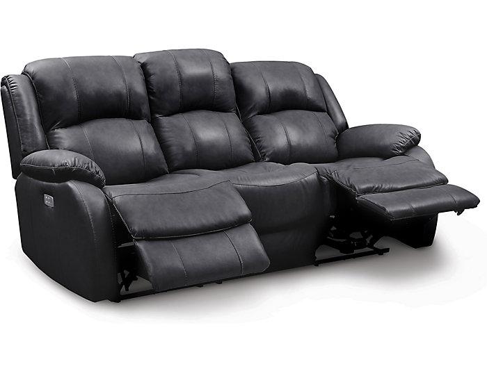 Fine Luke Black Dual Power Reclining Leather Sofa Art Van Home Machost Co Dining Chair Design Ideas Machostcouk