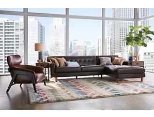 Positano 2 Piece Left-Arm Facing Leather Sofa Sectional, , large