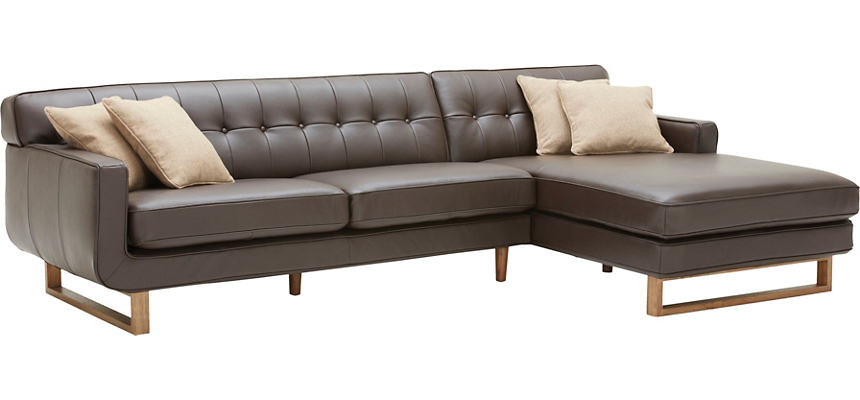 Positano 2 Piece Right Arm Facing Chaise Leather Sectional