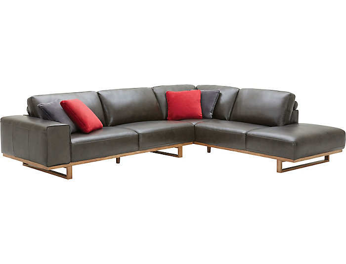 Treviso 2 Piece Right-Arm Facing Chaise Leather Sectional | Art Van Home