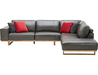 Treviso 2 Piece Right-Arm Facing Chaise Leather Sectional, , large
