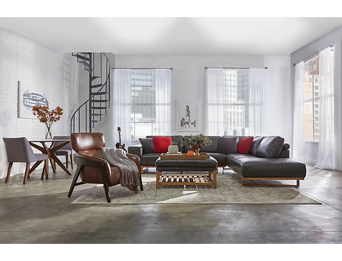 Treviso Grey 2Piece Right-Arm Facing Chaise Leather Sectional
