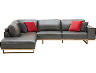 Treviso 2 Piece Left-Arm Facing Chaise Leather Sectional, , large
