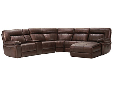 Arlo Power Leather Sectional, Brown, , large