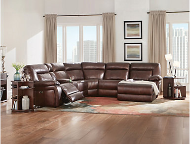 Arlo 6 Piece Power Reclining Leather Sectional, , large
