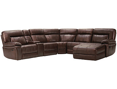 Arlo Reclining Leather Sectional, Brown, , large