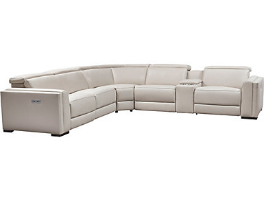 Gino 6 Piece Dual Power Sectional, White, , large