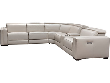 Gino 6 Piece Dual Power Reclining Leather Sectional, , large