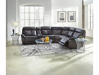 Jett 6 piece Dual Power Reclining Leather Sectional, , large