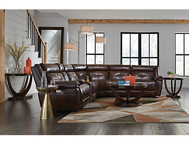 Josh 6 Piece Dual Power Reclining Leather Sectional, , large
