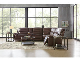 Matteo 6 Piece Triple Power Reclining  Leather Sectional, , large