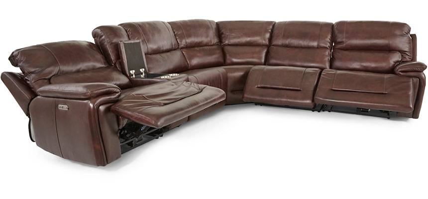 Matteo 6 Piece Triple Power Reclining Leather Sectional