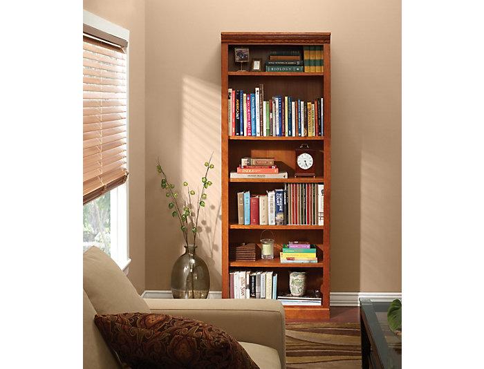 """72"""" Burnished Oak Bookcase, , large"""