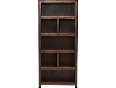 "72"" Cafe Brown Display Bookcase, , large"
