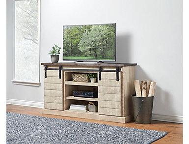 "Dakota 65"" White Fire Glaze Barn Door TV Stand, , large"