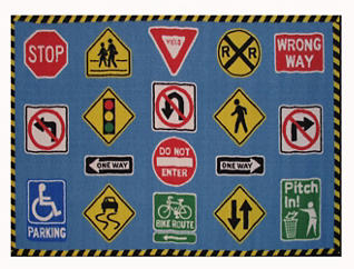 """Traffic Signs Rug 39""""X58"""", , large"""