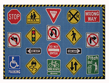 "Traffic Signs Rug 39""X58"", , large"