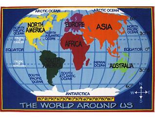 "Kids World Map Rug 5'3""X7'6"", , large"