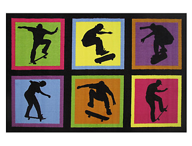 "Skateboarding Fun Rug 39""X58"", , large"