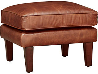 Genuine Leather Berkley Ottoman, Brown, , large