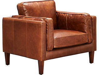Genuine Leather Berkley Chair, Brown, , large