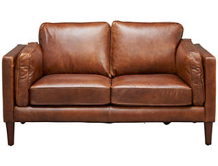 Genuine Leather Berkley Loveseat, Brown, , large