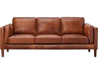 Genuine Leather Berkley Sofa, Brown, , large
